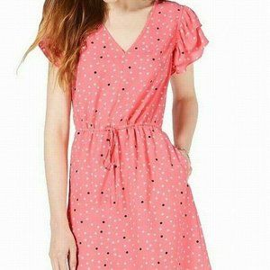 Maison Jules Printed Flutter-Sleeve Dress - S